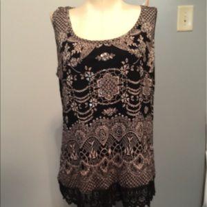 Bila black tank top with sequins & lace hem